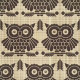 Owls. Abstract decorative canvas textured owls print background. Seamless pattern. Illustration. Vector Royalty Free Stock Images