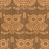 Owls. Abstract decorative wooden carving textured owls. Seamless pattern. Illustration. Vector Stock Photography