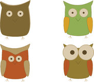 Owls. Four owls on a white background Stock Illustration
