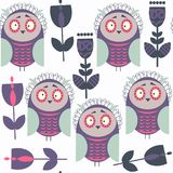 Owls abstract seamless pattern. It is located in swatch menu, ve Stock Photos