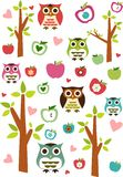 Owls, apples and trees Royalty Free Stock Image