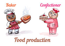 Owls baker and confectioner. Vector watercolor set. Royalty Free Stock Images