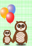 Owls with balloons on green plaid background. Two owls, a big and a small one, with colorful balloons on a light green plaid background Stock Images