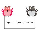 Owls with banner Royalty Free Stock Images