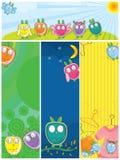 Owls Banner Set_eps. Illustration of design owls banner set Stock Images