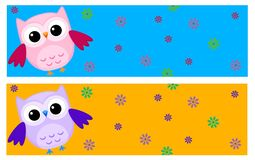 Owls banners Royalty Free Stock Images