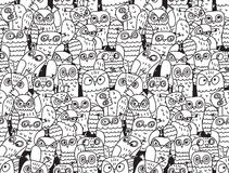 Owls birds group black and white seamless pattern. Stock Photos