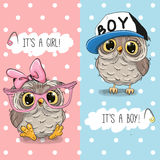 Owls boy and girl. Baby Shower greeting card with Owls boy and girl Stock Photography