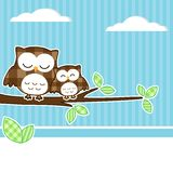 Owls on branch. Card with two owls on branch with textile background royalty free illustration