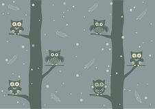 Owls on branch at day,Design for cards Stock Photography