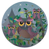 Owls on a Branch Royalty Free Stock Image