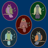 Owls on branch pattern  illustration. On dark background Royalty Free Stock Image