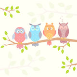 Owls on branch. Stylish flat illustration of four different funny owls sitting on a branch Stock Photo