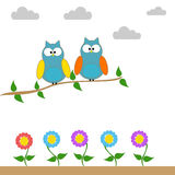 Owls on a branch of a tree. With clouds and flowers vector illustration