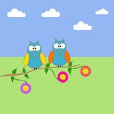 Owls on a branch of a tree. With clouds and sky vector illustration