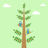 Owls on a branch of a tree. With clouds and sky royalty free illustration