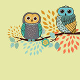 Owls card Stock Image
