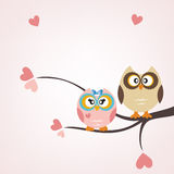 Owls card. Two owls with flowers and copy space royalty free illustration