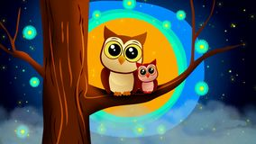 Owls cartoon , beautiful moon and stars, best loop video background for lullaby to put a baby to sleep ,relaxing calming