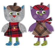 Owls, cartoon characters. Colorful felt and wool quiltting Stock Images