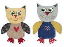 Owls, cartoon characters. Colorful felt and wool quiltting Stock Photo