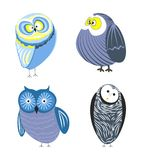 Owls cartoon kid funny characters with feather ornament. Vector  flat icons of owl bird in colorful abstract pattern plumage feathering decoration Royalty Free Stock Image
