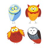 Owls cartoon kid funny characters with feather ornament. Vector  flat icons of owl bird in colorful abstract pattern plumage feathering decoration Stock Photo
