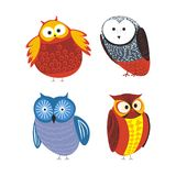 Owls cartoon kid funny characters with feather ornament. Vector isolated flat icons of owl bird in colorful abstract pattern plumage feathering decoration Stock Photos