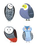 Owls cartoon kid funny characters with feather ornament. Vector isolated flat icons of owl bird in colorful abstract pattern plumage feathering decoration Royalty Free Stock Images