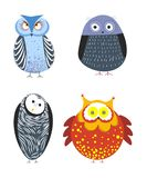 Owls cartoon kid funny characters with feather ornament. Vector isolated flat icons of owl bird in colorful abstract pattern plumage feathering decoration Royalty Free Stock Photography