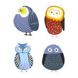 Owls cartoon kid funny characters with feather ornament. Vector isolated flat icons of owl bird in colorful abstract pattern plumage feathering decoration Royalty Free Stock Photo