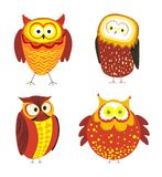 Owls cartoon kid funny characters with feather ornament. Vector isolated flat icons of owl bird in colorful abstract pattern plumage feathering decoration Stock Photo