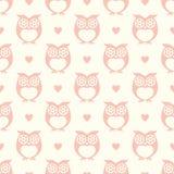 Owls cartoon pattern seamless illustration Royalty Free Stock Photos