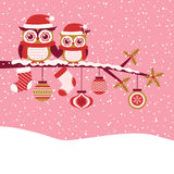 Owls cartoon red christmas illustration Royalty Free Stock Photography