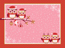 Owls cartoon red christmas illustration Royalty Free Stock Photo