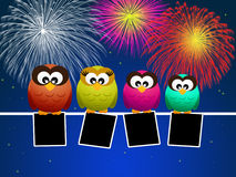 Owls celebrate the New year Royalty Free Stock Photo