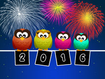 Owls celebrate the New year. Illustration of owls celebrate the New year Stock Photography