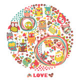 Owls circle background. Love card. Template for design cartoon g Stock Images