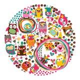 Owls circle background. Royalty Free Stock Photos