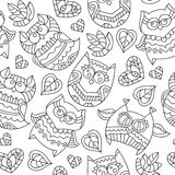 Owls for coloring. Vector owls for coloring, seamless pattern of owls, leaves and hearts with ornaments Stock Images