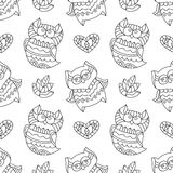 Owls for coloring. Vector owls for coloring, seamless pattern of owls, leaves and hearts with ornaments Royalty Free Stock Photography