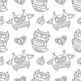 Owls for coloring. Vector owls for coloring, seamless pattern of owls, leaves and hearts with ornaments Stock Image