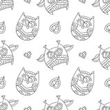 Owls for coloring Royalty Free Stock Photo
