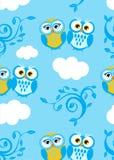Owls couple on the sky. Seamless Stock Photo