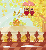 Owls couple under umbrella, autumn day Stock Photo