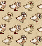 Owls with crayons on craft paper Stock Photo