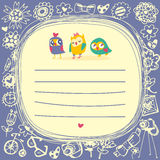 Owls cute cartoon card and place for sample text. Owls cute cartoon card and sample text. Template for design cartoon greeting card and stick note Royalty Free Stock Photo