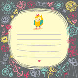 Owls cute cartoon card and sample text. Royalty Free Stock Image