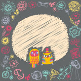 Owls cute cartoon card and sample text. Stock Photo
