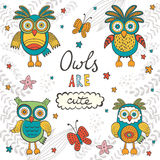 Owls are cute. Colorful card with owls characters Royalty Free Stock Photos